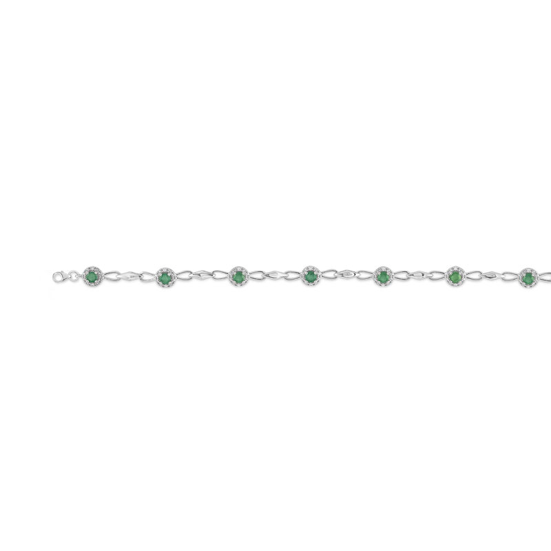 sortie d'usine 100% d'origine regarder Bracelet or 750 blanc émeraude et diamant