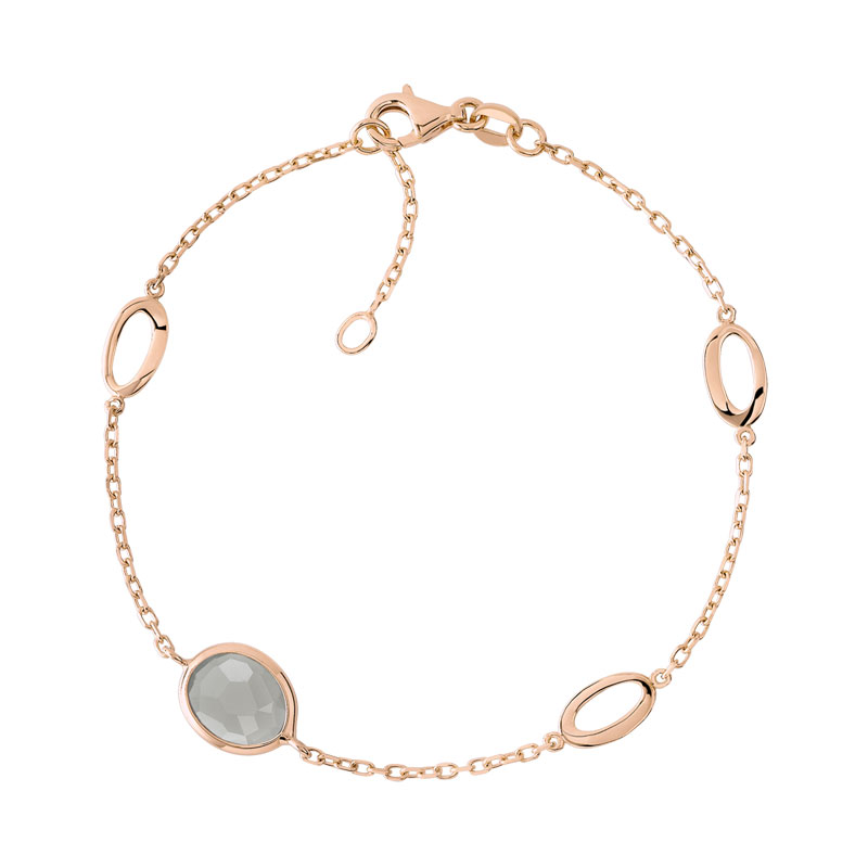 Bracelet or 750 rose quartz fumé - vue V1
