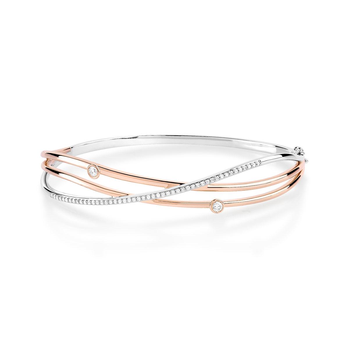 Bracelet 2 ors 750 diamant , vue V1