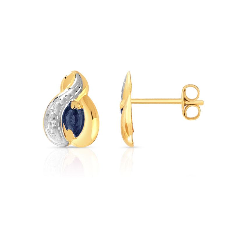 Extraordinaire Boucles d'oreilles or 750 2 tons saphir - Femme - Clous d'oreilles  MZ94