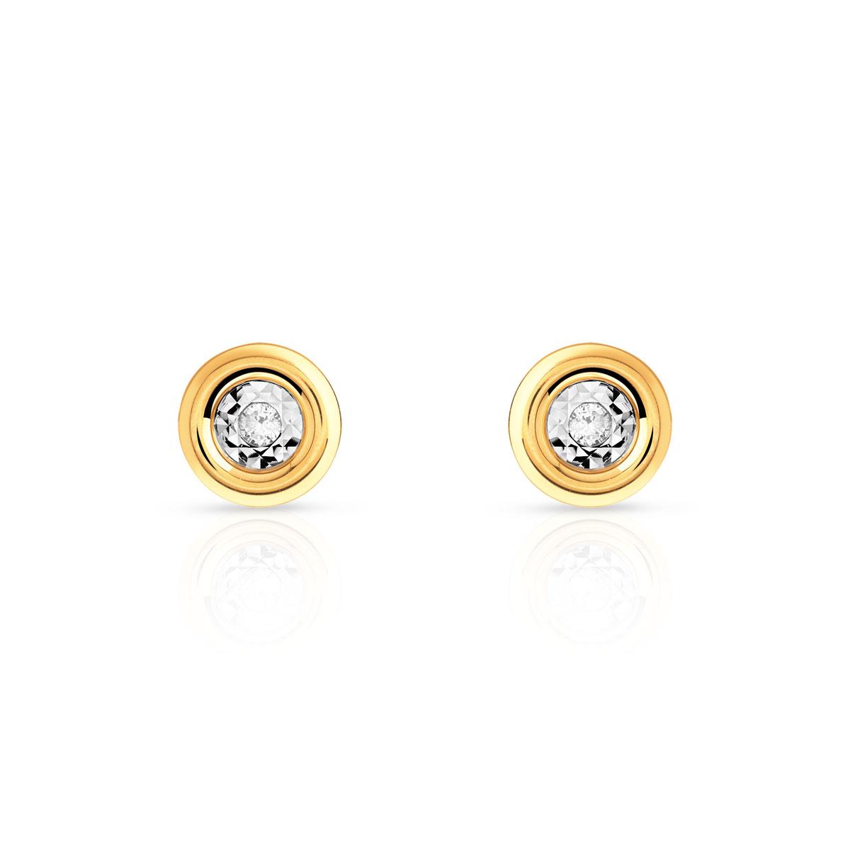 boucles d'oreille diamant or jaune