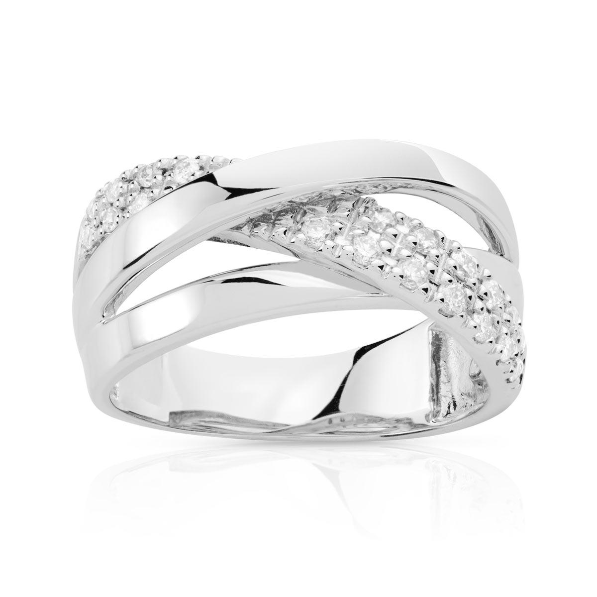 6f61cb48bd5 Bague or 750 blanc diamant - Femme - Bague