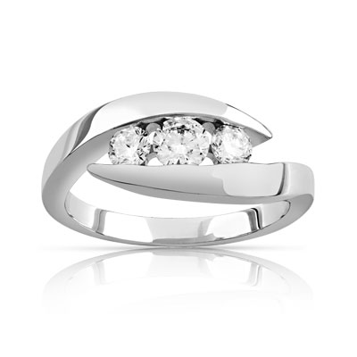 Bague Trilogy or 750 blanc diamant - vue V1