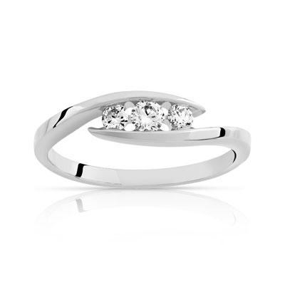 bague or blanc trilogie diamant