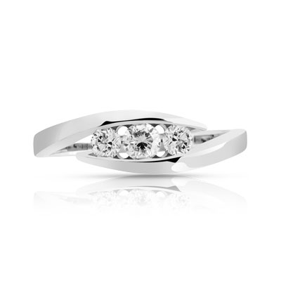 Bague Trilogy or 750 blanc diamant - vue 3