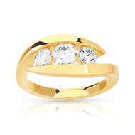 Bague Trilogy or 750 jaune diamant