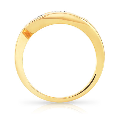 Bague Trilogy or 750 jaune diamant - vue V2