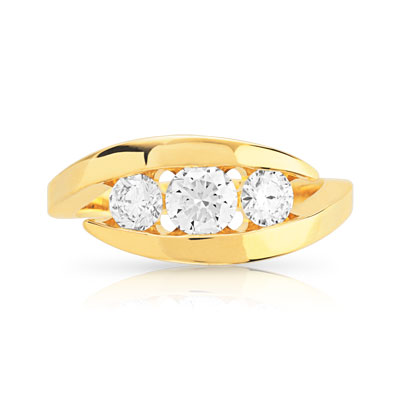 Bague Trilogy or 750 jaune diamant - vue V3