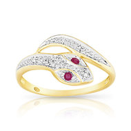 Bague or 750 2 tons rubis et diamant