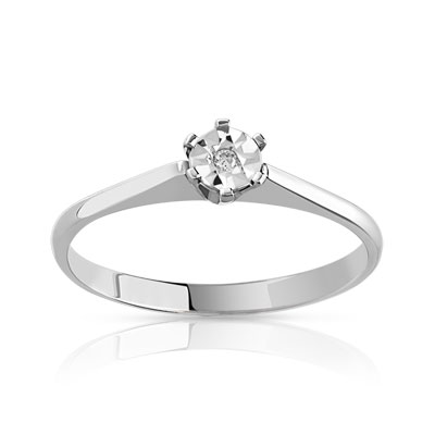 Bague solitaire or blanc diamant