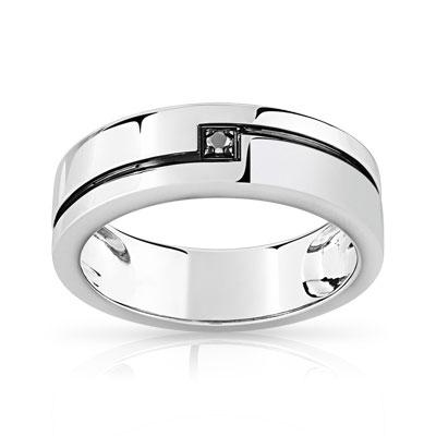 Fabuleux Bague or 750 blanc diamant noir - Homme - Bague | MATY BV96