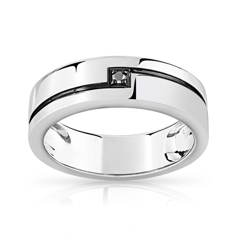 Exemple dalliances alliance pour homme or blanc et diamant