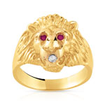 Bague or 750 jaune rubis diamant