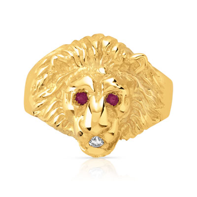 Bague plaque or tete de lion