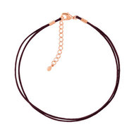 Bracelet plaqué or rose cordon coton chocolat