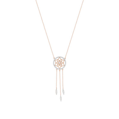 Collier dreamcatcher plaqué or rose 2 tons zirconia - vue 1