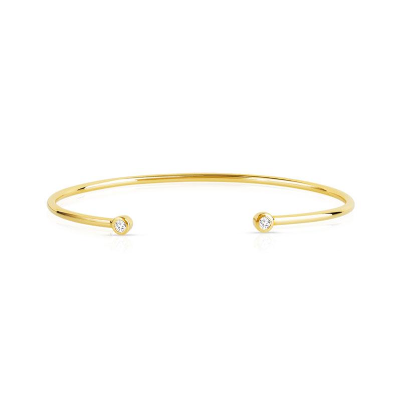 Bracelet jonc plaqué or ouvert zirconias 56 mm