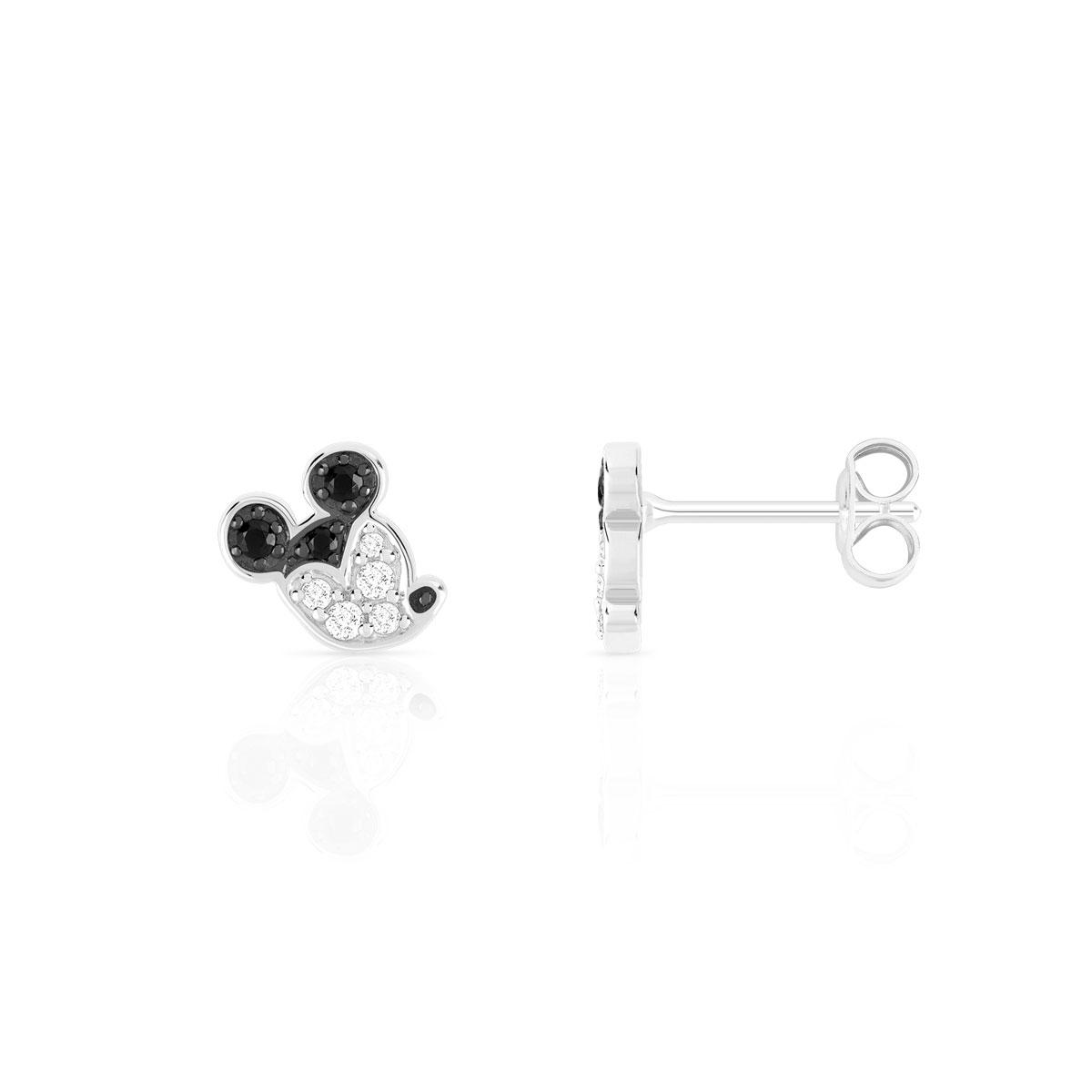 correspondant en couleur baskets pour pas cher lacer dans Boucles d'oreilles Mickey argenté zirconia Disney