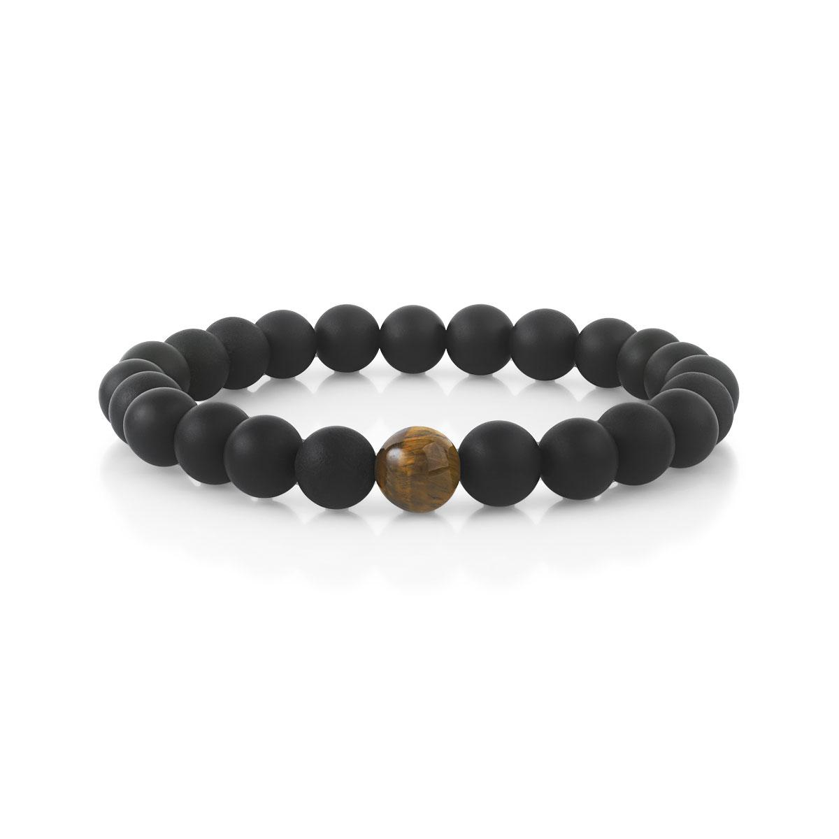 acheter populaire 08d0e cb4ea Bracelet perles onyx et oeil de tigre 19 cm
