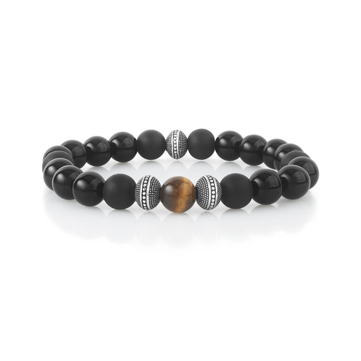 Bracelet argenté perles onyx et oeil de tigre 19 cm