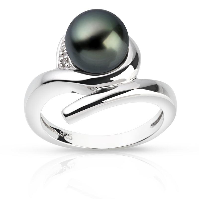 bague argent 925 perle de culture de tahiti diamant femme bague maty. Black Bedroom Furniture Sets. Home Design Ideas