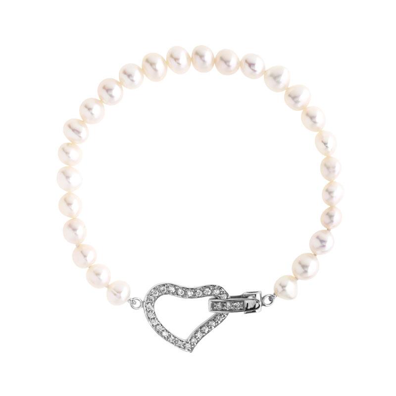 bracelet argent 925 perle de culture zirconia femme bracelet maille souple maty. Black Bedroom Furniture Sets. Home Design Ideas
