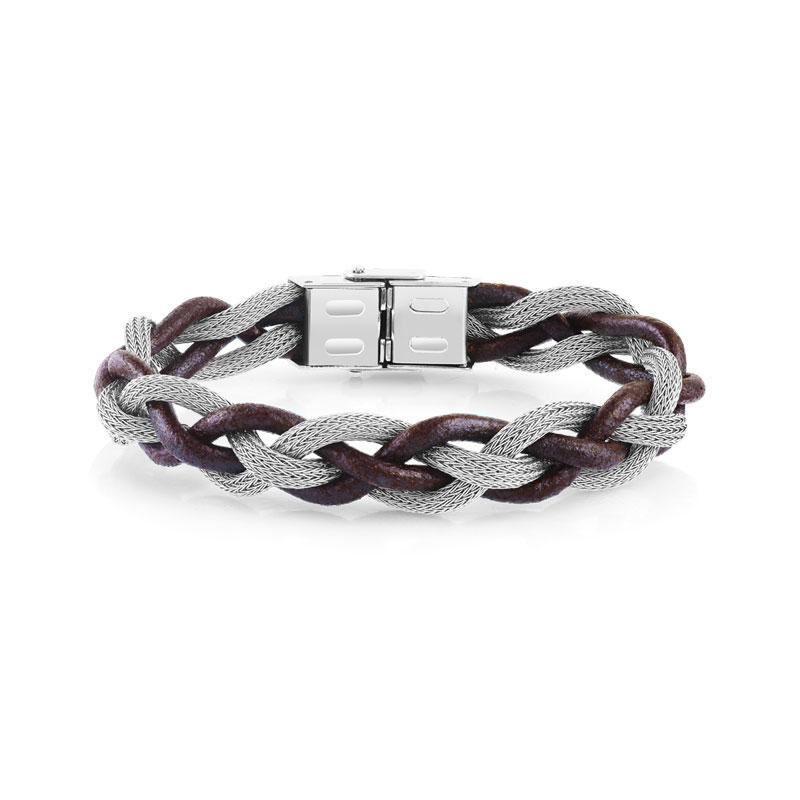 d87d80c46be Bracelet acier cuir tressé - Homme - Bracelet souple
