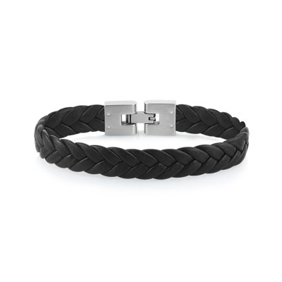 e5da341b30f Bracelet acier cuir - Homme - Bracelet souple