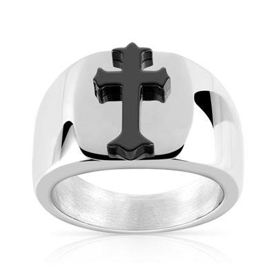 Bague homme en titane brossé croix