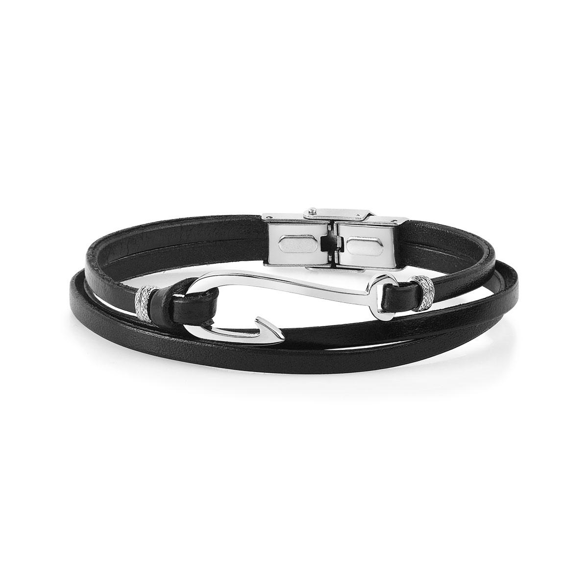 vaste sélection fabrication habile sélectionner pour authentique Bracelet acier cuir 19 cm