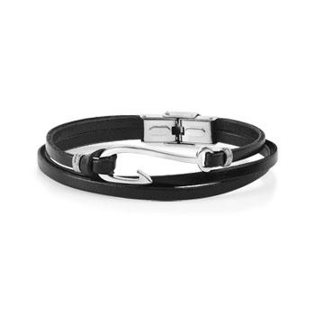 Bracelet acier cuir 19 cm