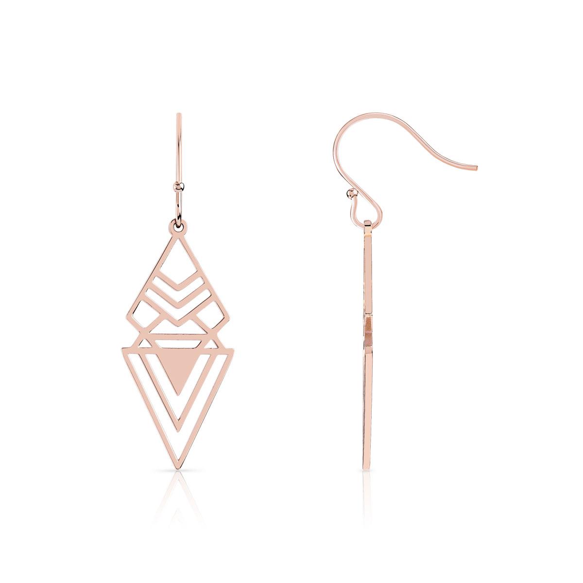 vente limitée nouvelles photos nouveaux produits pour Boucles d'oreilles acier doré rose