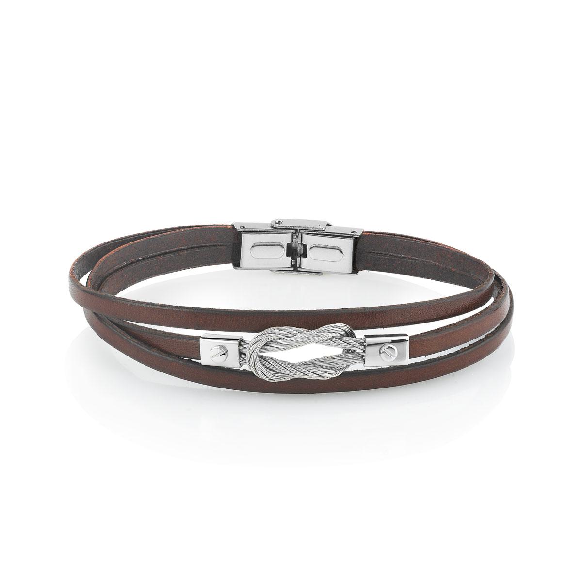 bracelet cuir et acier femme