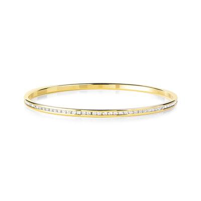 bracelet jonc plaqu or zirconia femme bracelet rigide. Black Bedroom Furniture Sets. Home Design Ideas