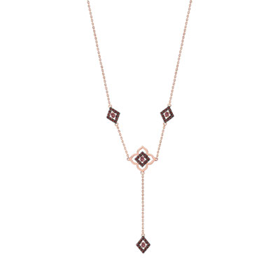 Collier plaqué or rose zirconia - vue 1