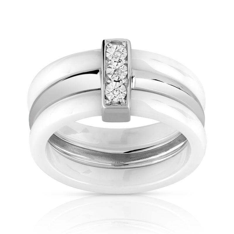 Bague argent 925 céramique diamant - Femme - Bague   MATY b1e6f61cd550