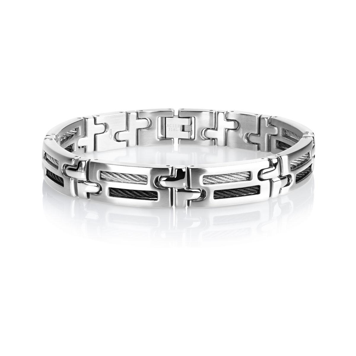 bracelet acier cable homme bracelet souple maty. Black Bedroom Furniture Sets. Home Design Ideas