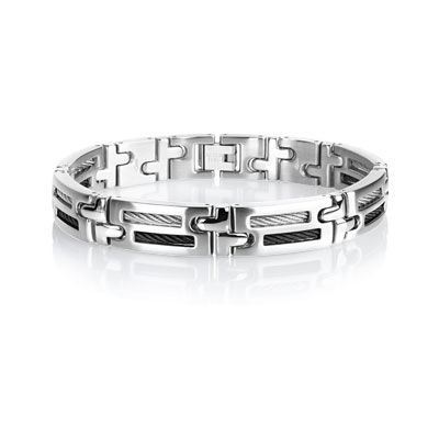 bracelet acier cable homme bracelet maille souple maty. Black Bedroom Furniture Sets. Home Design Ideas
