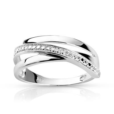 Bague argent 925 diamant - vue 1