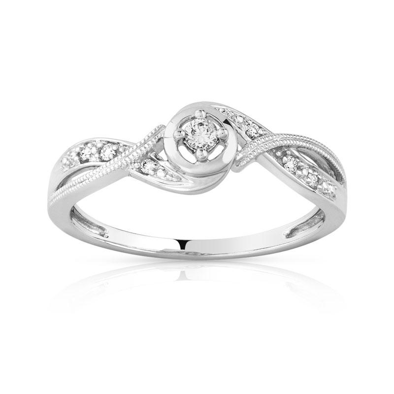 Bague or 375 blanc diamant et rubis - vue 1