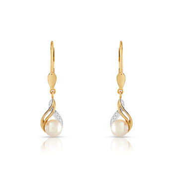Boucles d'oreilles or 375 2 tons perle culture chine diamant