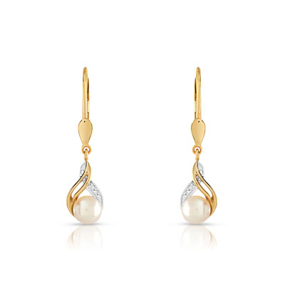 Boucles d'oreilles or 375 2 tons perle culture chine diamant - vue V1