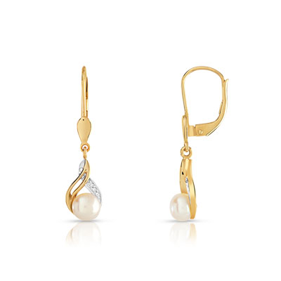 Boucles d'oreilles or 375 2 tons perle culture chine diamant - vue VD1
