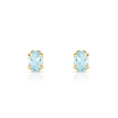 Boucles d'oreilles or 375 jaune topaze bleue traitée