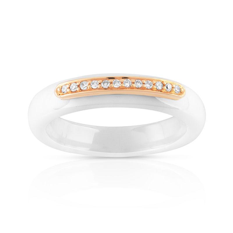 Bague or 375 rose c ramique blanche et diamant femme bague maty - Bague en ceramique ...