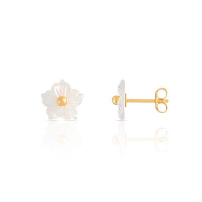 Boucles d oreilles or 375 jaune nacre - Enfant - Clous d oreilles   MATY 5ce12ffb7f0
