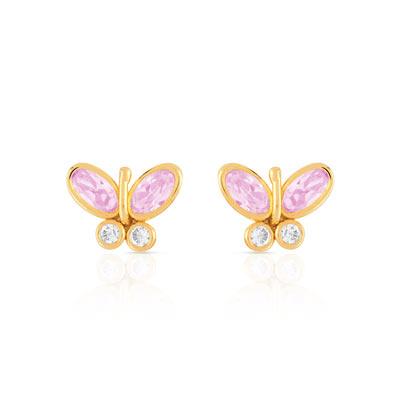 4d44778f37d0f Boucles d oreilles or 375 jaune zirconia - Enfant - Clous d oreilles ...