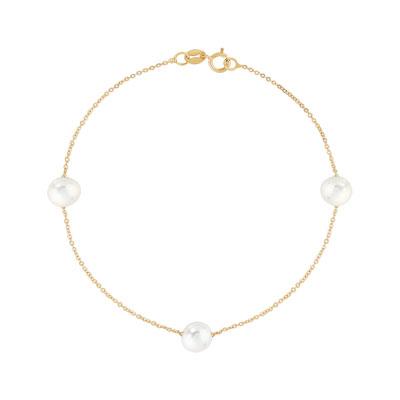 Bracelet or 375 jaune perle de culture de Chine , vue V1