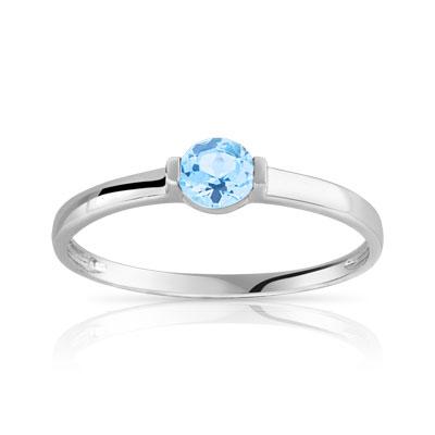 cbe43df1790 Bague or 375 blanc topaze bleue traitée - Femme - Bague