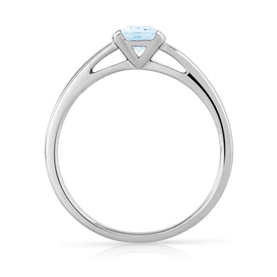 Bague or 375 blanc aigue-marine - vue 2
